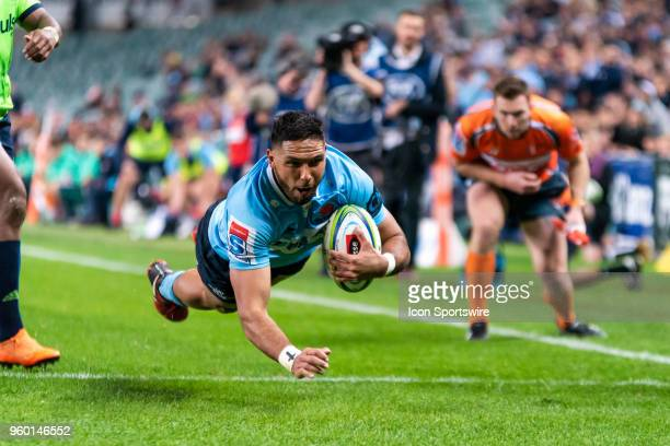 Waratahs player Curtis Rona goes over to score at week 14 of the Super Rugby between The Waratahs and Highlanders on May 19, 2018 at Allianz Stadium...