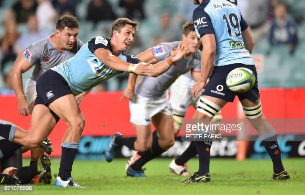 Waratahs player Jake Gordon clears the ball against the Southern Kings during the Super15 rugby match between Waratahs and South Africa's Southern...
