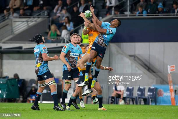 Waratahs player Kurtley Beale tries to catch the ball at week 15 of Super Rugby between NSW Waratahs and Jaguares on May 25, 2019 at Western Sydney...