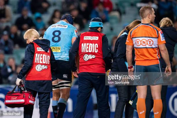 Waratahs player Michael Wells goes off with an injury at the Quarterfinal of the Super Rugby between The Waratahs and Highlanders at Allianz Stadium...