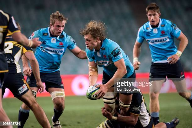 Waratahs player Ned Hanigan looks to get the pass away at week 19 of the Super Rugby between The Waratahs and Brumbies at Allianz Stadium in Sydney...