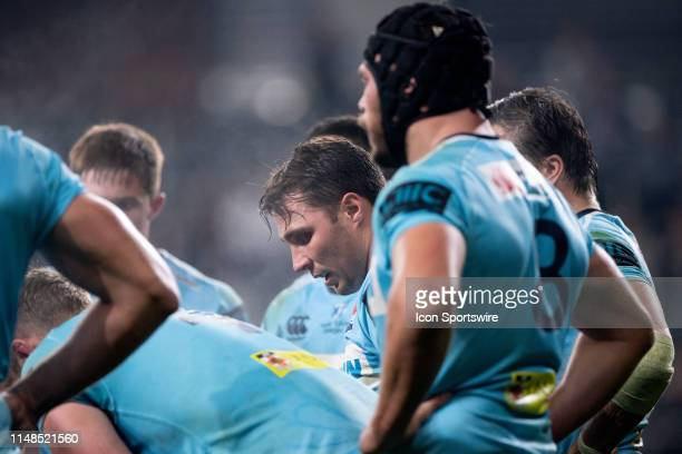 Waratahs player Nick Phipps with the team after another Brumbies try at week 17 of Super Rugby between NSW Waratahs and Brumbies on June 08, 2019 at...