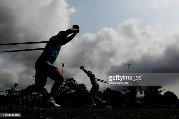 Waratahs players perform a drill training during a Waratahs Super Rugby pre-season training session at David Phillips Sports Complex on December 12,...