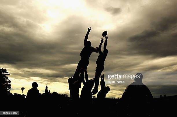 Waratahs players practice lineouts during a Waratahs Super Rugby training session at Victoria Barracks on March 1 2011 in Sydney Australia