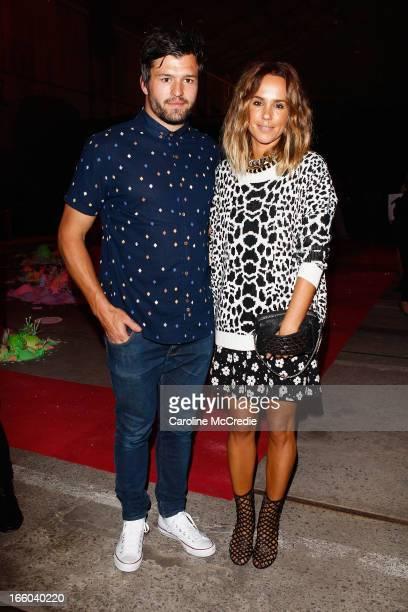 Waratahs Super Rugby player Adam AshleyCooper and Pip Edwards attends the Romance was Born show during MercedesBenz Fashion Week Australia...