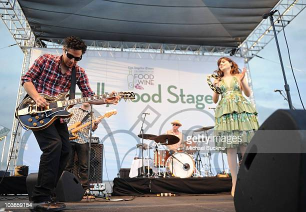 M Ward and singer Zooey Deschanel of She and Him perform at the Los Angeles Times Celebration of Food Wine at Paramount Studios on September 5 2010...