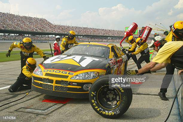 Ward Burton driver of the Bill Davis Racing Dodge Intrepid R/T comes in for a pit stop during the NASCAR Winston Cup EA Sports 500 at Talladega...