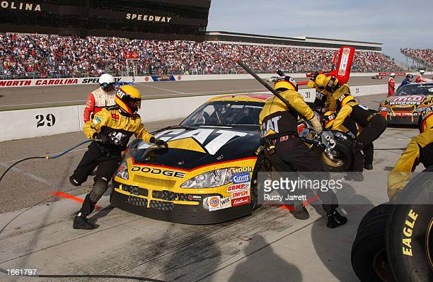 Ward Burton driver of the Bill Davis Racing Dodge Intrepid R/T during the NASCAR Winston Cup Pop Secret Microwave Popcorn 400 on November 3 2002 at...
