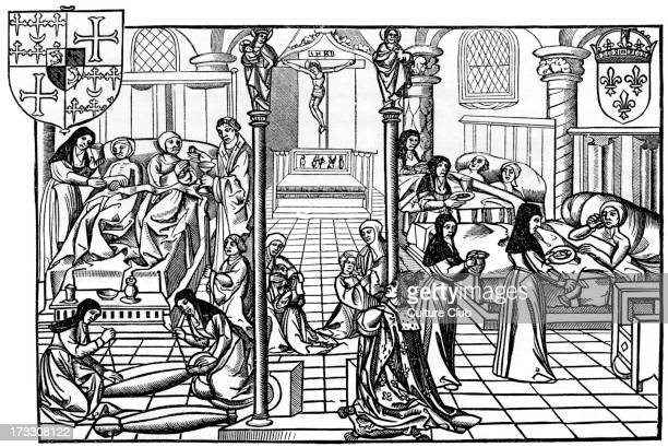 Ward in the Hôtel Dieu Paris From reproduction of wood engraving of 16th century