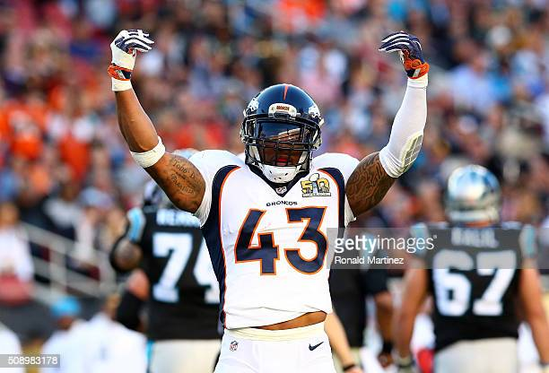 J Ward of the Denver Broncos reacts after a play against the Carolina Panthers in the first quarter during Super Bowl 50 at Levi's Stadium on...