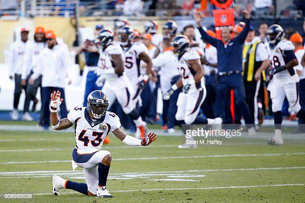 J Ward of the Denver Broncos reacts after a play against the Carolina Panthers during Super Bowl 50 at Levi's Stadium on February 7 2016 in Santa...