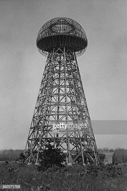 Wardenclyffe Tower or Tesla Tower an early wireless transmission station in Shoreham Long Island New York State circa 1915 The tower was designed by...