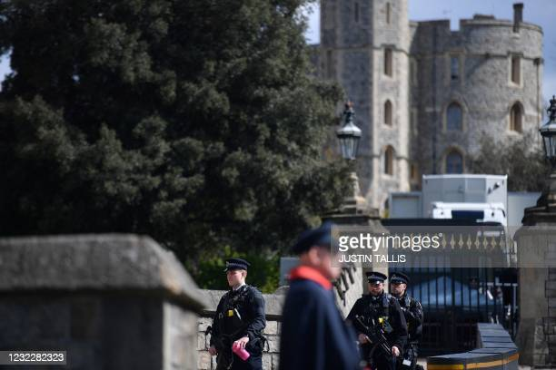 Wardens stand at the entrance to Windsor Castle in Windsor, west of London, on April 13 following the April 9 death of Britain's Prince Philip, Duke...
