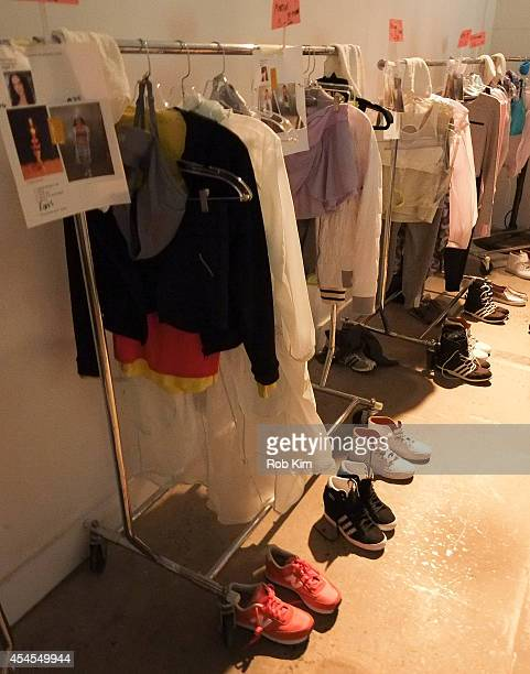 Wardrobe backstage at Athleta during MercedesBenz Fashion Week Spring 2015 at SIR Stage on September 3 2014 in New York City