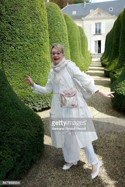 Wardrobe Pascale Bordet attends the Garden Party organized by Bruno Finck companion of JeanClaude Brialy at Chateau De Monthyon on September 16 2017...