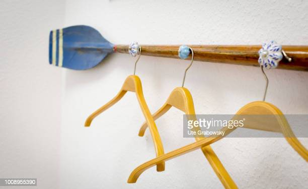 Wardrobe with clothes hanger in a physiotherapy practice on May 25 2018 in BONN GERMANY