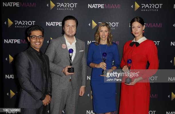 Wared Seger Josh McDermitt Denise Huth and Pollyanna McIntosh attend the 2018 Global TV Demand Award Most InDemand TV Series for the'The Walking...