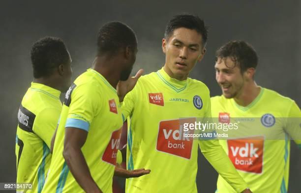 20171203 Waregem Belgium / Zulte Waregem v Kaa Gent / 'nYuya KUBO Celebration'nFootball Jupiler Pro League 2017 2018 Matchday 17 / 'nPicture by...
