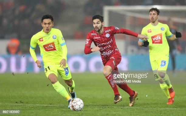 20171203 Waregem Belgium / Zulte Waregem v Kaa Gent / 'nYuya KUBO Sandy WALSH'nFootball Jupiler Pro League 2017 2018 Matchday 17 / 'nPicture by...