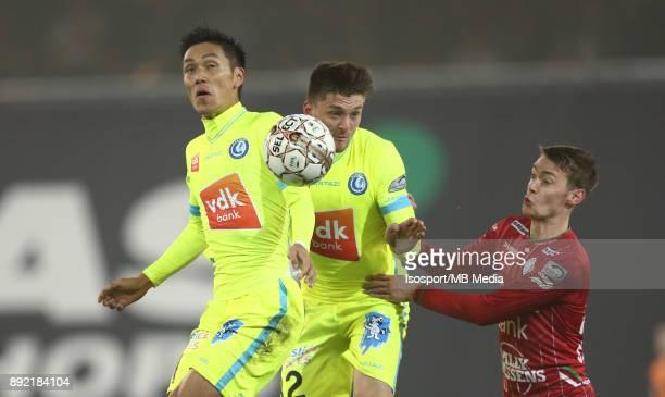 20171203 Waregem Belgium / Zulte Waregem v Kaa Gent / 'nYuya KUBO Thomas FOKET Sander COOPMAN'nFootball Jupiler Pro League 2017 2018 Matchday 17 /...