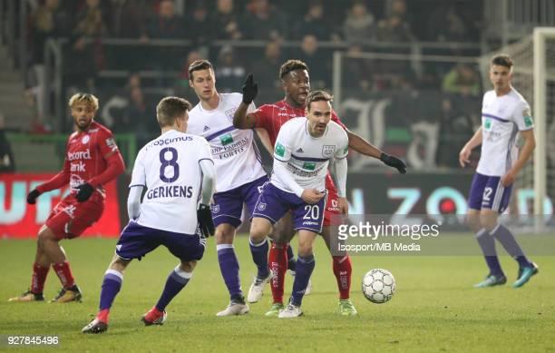 20180303 Waregem Belgium / Zulte Waregem v Rsc Anderlecht / 'nSven KUMS Aaron LEYA ISEKA'nFootball Jupiler Pro League 2017 2018 Matchday 29 /...