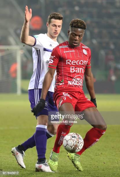 20180303 Waregem Belgium / Zulte Waregem v Rsc Anderlecht / 'nUros SPAJIC Aaron LEYA ISEKA'nFootball Jupiler Pro League 2017 2018 Matchday 29 /...