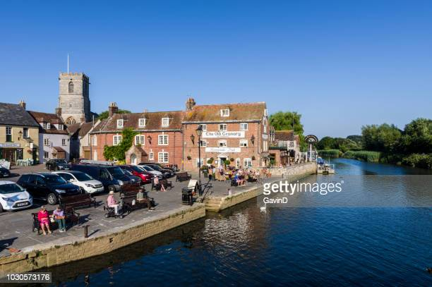 wareham quayside on river from in dorset england - wareham stock photos and pictures