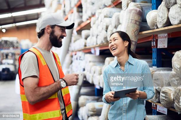 Warehouse and industry concept in Australia, working in small business.