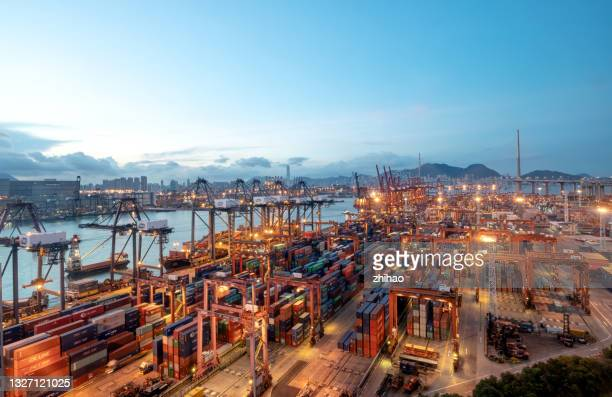 warehouse dock in the early morning - tariff stock pictures, royalty-free photos & images