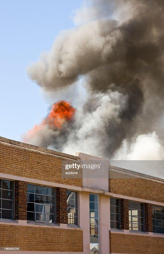 Warehouse fire : Stock Photo