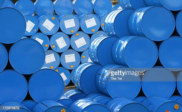 A warehouse full of blue Hugh barrels