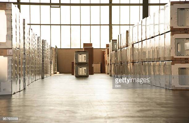 warehouse full of new household equipments - white goods stock pictures, royalty-free photos & images