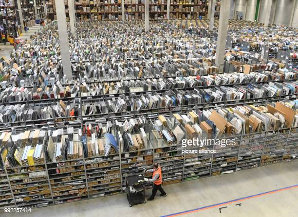 A warehouse in the Amazon logistics centre photographed in Pforzheim Germany 29 November 2017 The world's largest mailorder company has prepared for...