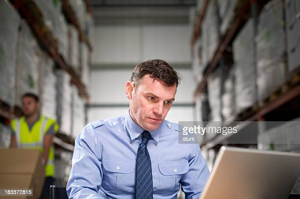 Warehouse Manager Using a Laptop