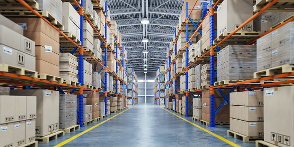 Warehouse or storage and shelves with cardboard boxes. Industrial background. 1126931828