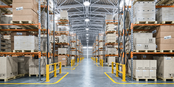 Warehouse or storage and shelves with cardboard boxes. Industrial background. 1183746168