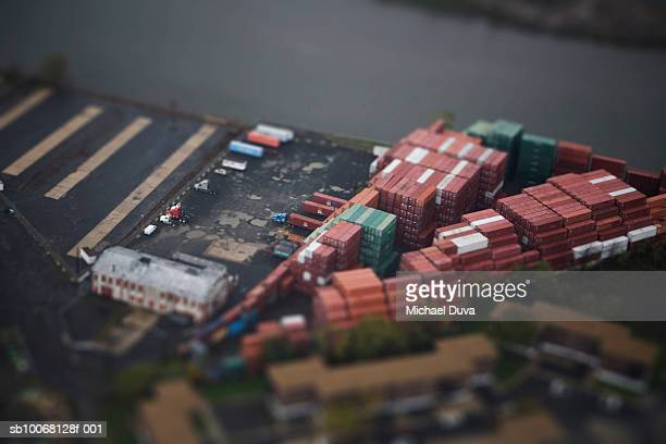 Warehouse parking lot, aerial view