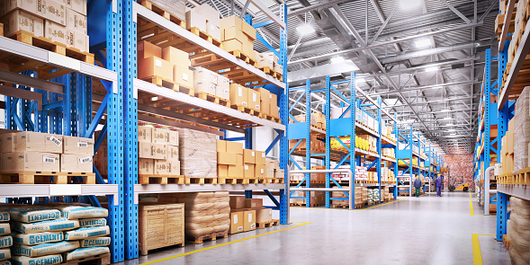 Warehouse with variety of timber for construction and repair. Delivery concept 874165674