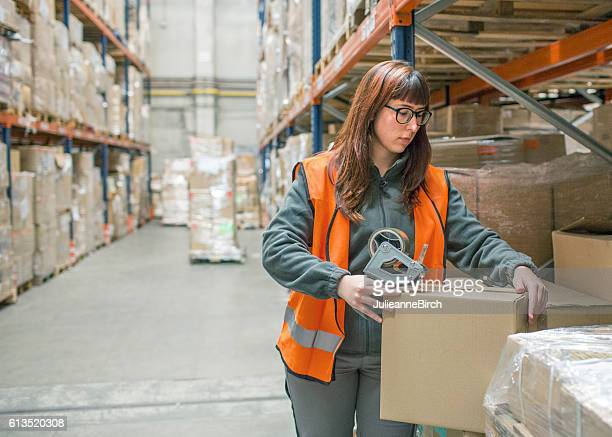 Warehouse worker checking goods