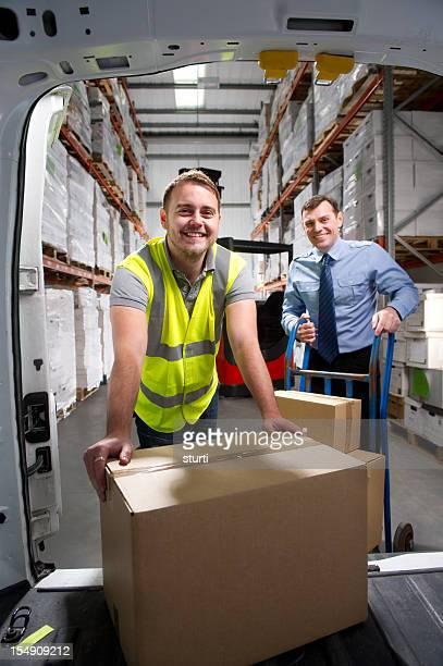 Warehouse Worker Loading Delivery Van
