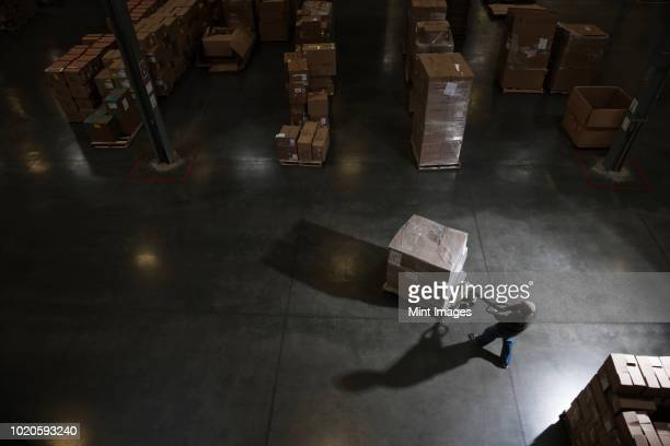 warehouse worker using a manual pallet jack to move some products in a distribution warehouse. - 貯蔵庫 ストックフォトと画像