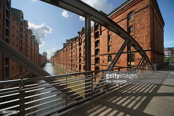 Warehouses and canal in the Speicherstadt, Hamburg