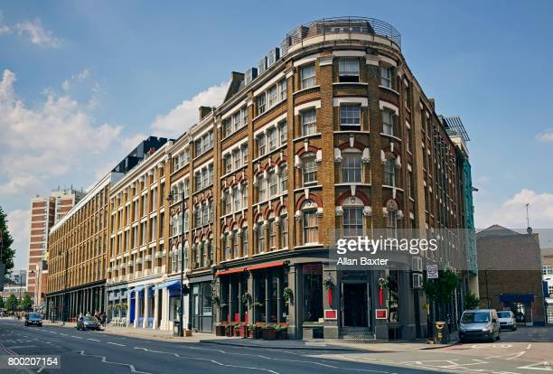 warehouses in the hip shoreditch area of london - corner stock pictures, royalty-free photos & images