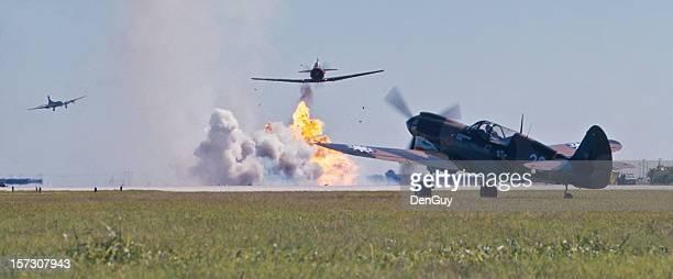 P-40 Warhawk in Battle Japanese Bombers Overhead