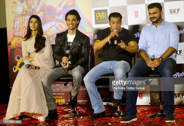 Warina Hussain Abhiraj Minawal Salman Khan and Aayush Sharma at the trailer launch of their movie Loveratri in Mumbai