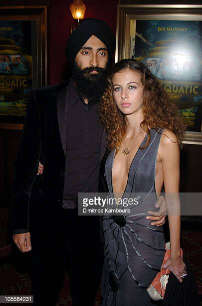 "Waris Ahluwalia and guest during ""The Life Aquatic with Steve Zissou"" New York Premiere - Inside Arrivals at Ziegfeld Theater in New York City, New..."