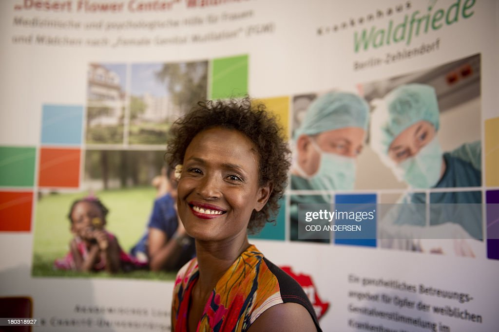 Waris Dirie, model, author, actress and human rights activist of Somali origin attends the opening of a hospital ward in Berlin on September 11, 2013. For over 12 years, Waris Dirie and her 'Desert Flower Foundation' has fought against female genital mutilation (FGM) worldwide. At least 150 million women and girls are affected by this cruel practice, which continues to be performed in Africa, but also in Asia, Europe, America and Australia.