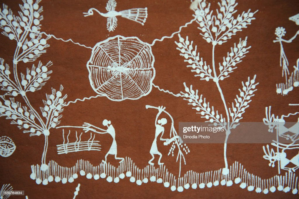 Warli paintings maharashtra india stock photo getty images warli paintings maharashtra india stock photo altavistaventures Image collections