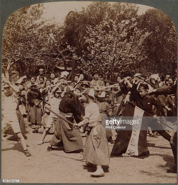 Warlike spirit of youthful Japanese Schoolboys in Ueno Park Tokyo Japan' 1904 From The Underwood Travel Library Japan [Underwood Underwood London New...