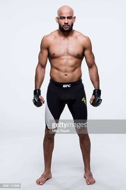 Warlley Alves of Brazil poses for a portrait during a UFC portrait session at MGM Grand Garden Arena on December 8 2015 in Las Vegas Nevada